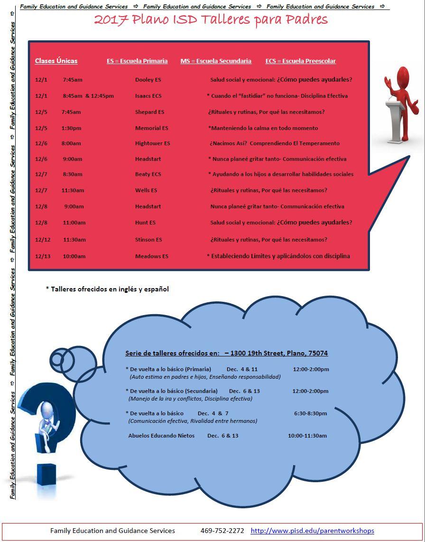 December Parent Workshops for Plano ISD