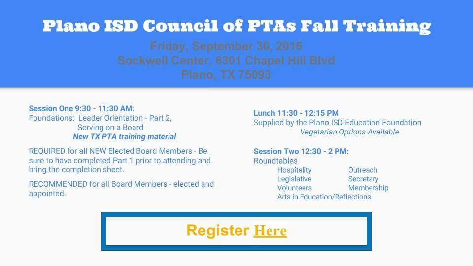 Fall PTA Training